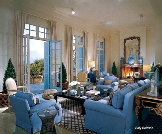 Billy BaldwinBlue Upholstery Living Room