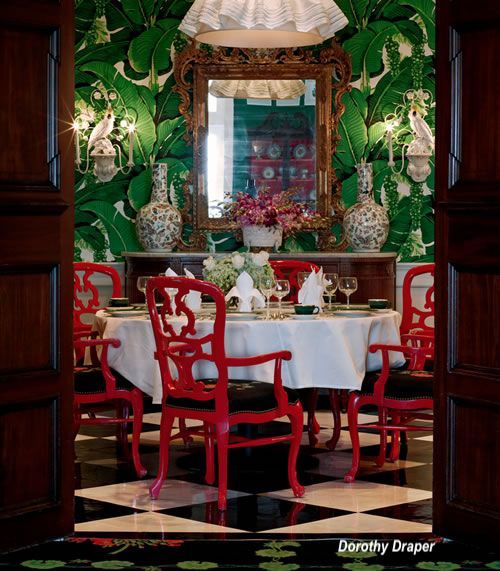 Dorothy Draper Inspired Dining Room with Red Chinese Chairs