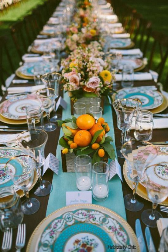 Habitually Chic Turquoise Table Setting with Oranges