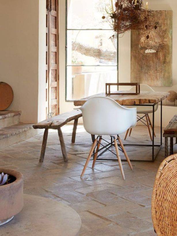 habitually chic- stone tile floor- kitchen design