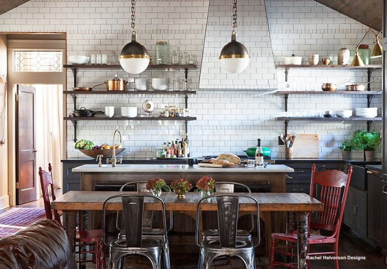 Doreen+Chambers+Luxury+Interior+Design+Brooklyn+NYC+-+Interior+Design+-+Kitchens-+Open+Shelves+or+Cabinets-kitchen table with mixed metal and painted chairs