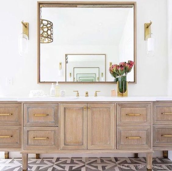 Tiffany Harris Design Warm Woods -Patterned Tile Floor- Bathroom Design