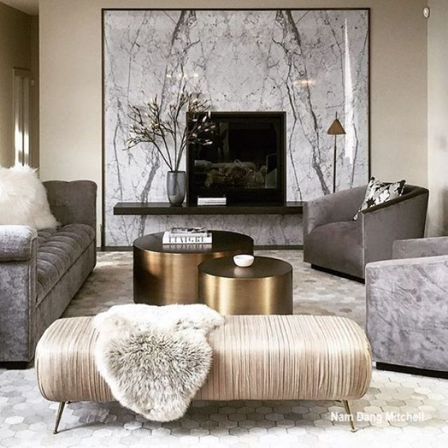 Nam Dang Mitchell Living Room With Burnished Gold Tables