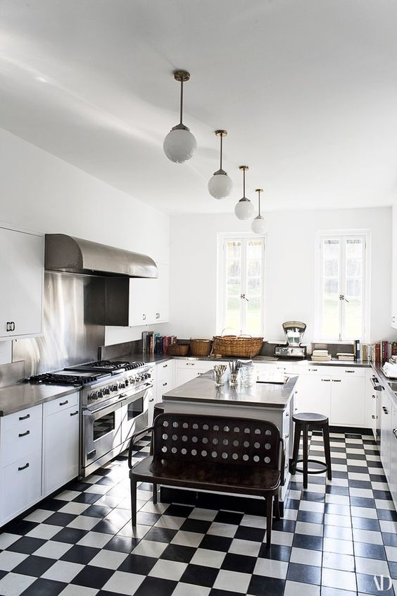 Architectural Digest Black and White Checkerboard Floor Kitchen