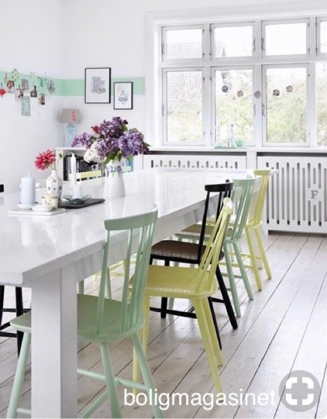 boligmagasinet white table with yellow, green, black paint on chairs