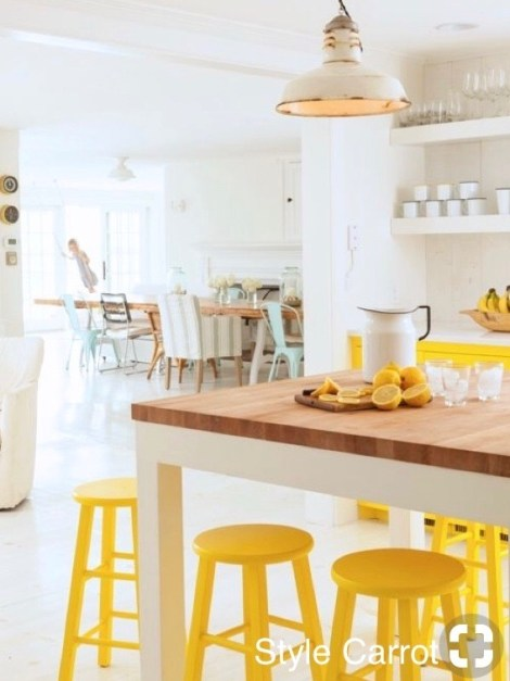 style carrot butcher block island and yellow paint for sunny stools