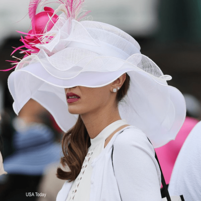 USA Today White Derby Hat With Hot Pink Flowers and Feather