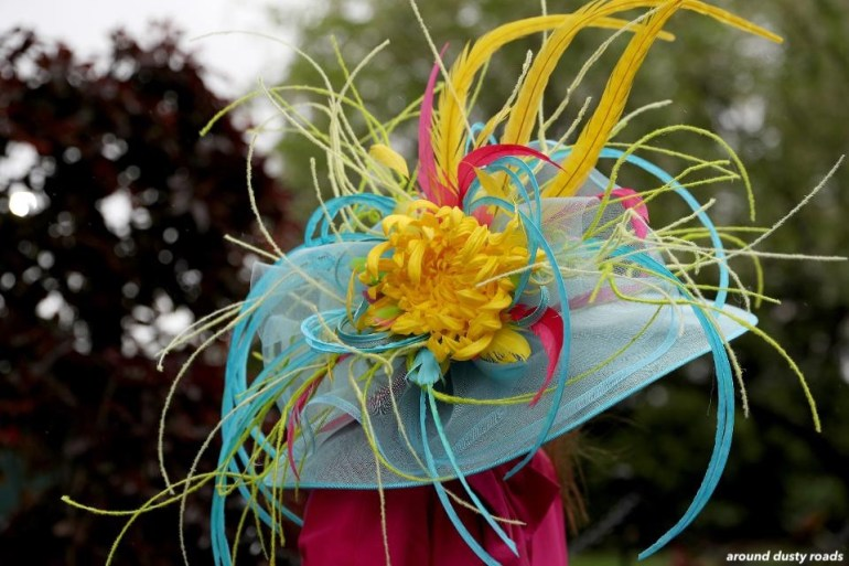 arounddustyroads- derby hat- blue with loads of color in yellow, pink and green