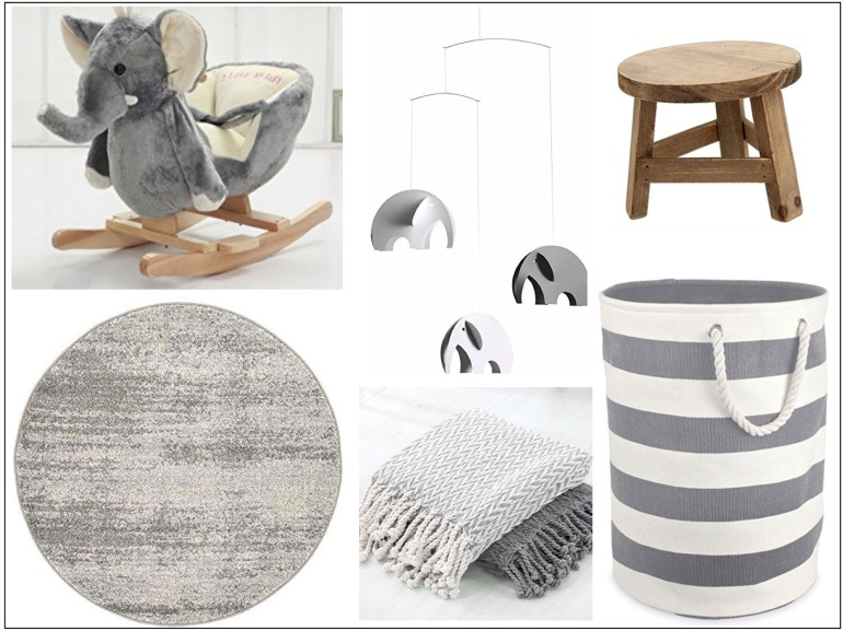 littleblackdomicile all white nursery mood board of accessories
