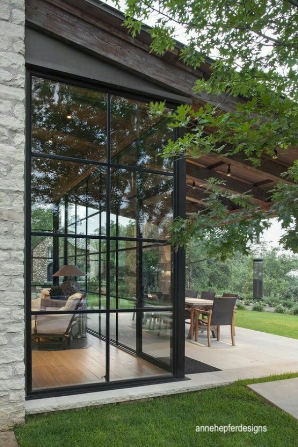 annehepferdesigns-black framed wall of windows-modern design