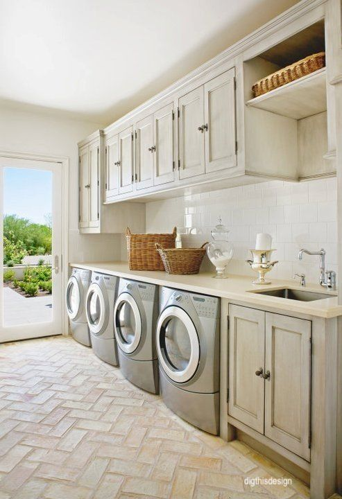digthisdesign - laundry room - dual washer and dryers-sinks in laundry room - paver floors inside