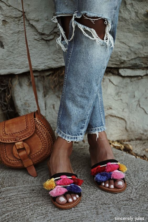sincerely jules- colorful tassels on sandals