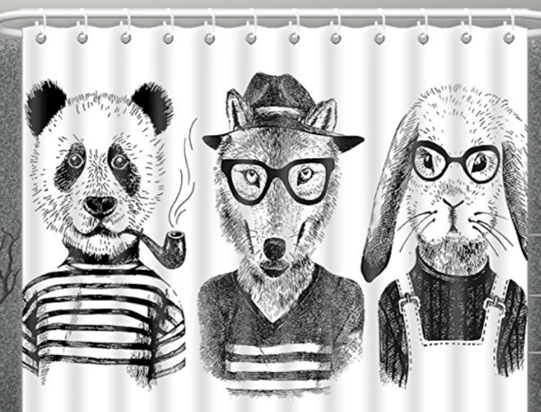 Black and White Cool Animal Shower Curtain