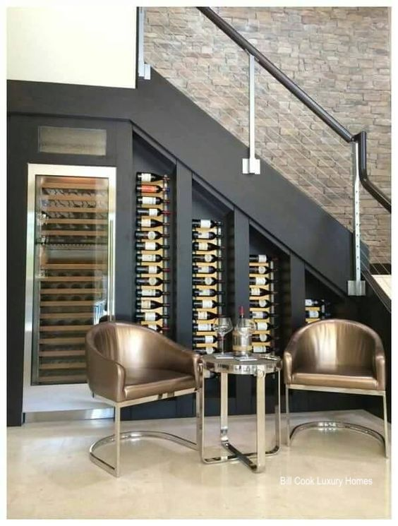 billcookluxuryhomes-winecooler-cable stair railing-wine storage