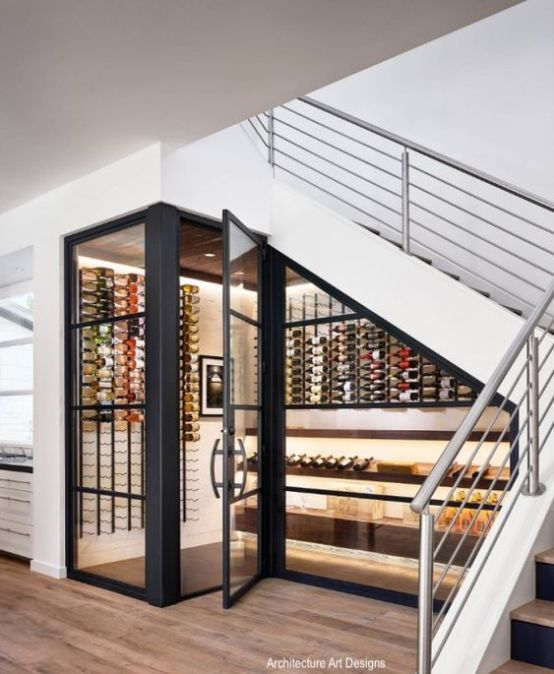architecturalartdesign-under stairs wine cellar-wine storage-black frame glass doors