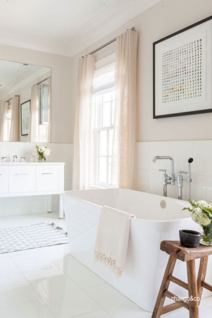 chango&co bath blush colored walls-freestanding tub-pink sheers