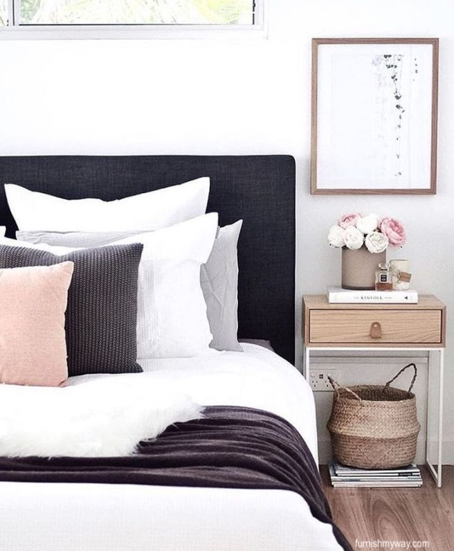 furnishitmyway bedroom-charcoal upholstered headboard-white, gray and blush bed linens