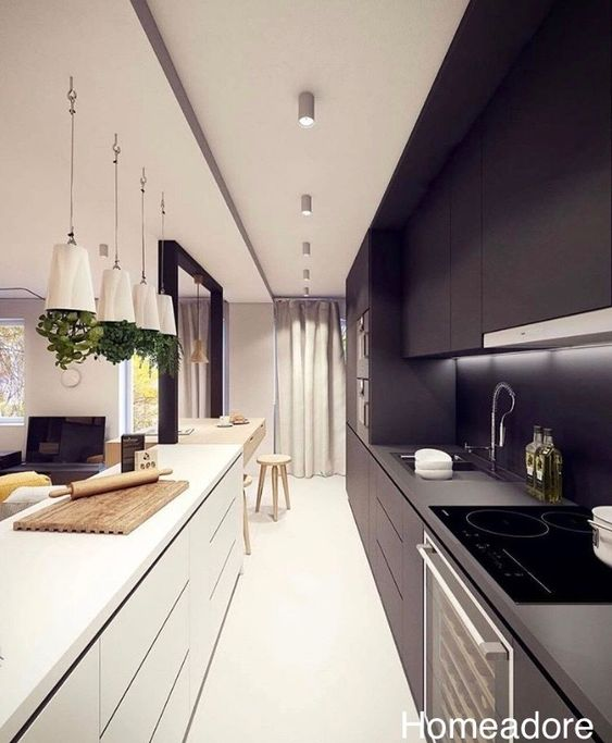 home adore-black and white kitchen-galley kitchen-pendant lighting