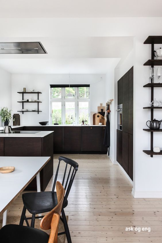 ask go eng- black and white kitchen- appliance wall-open shelves-ceiling range vent-large windows