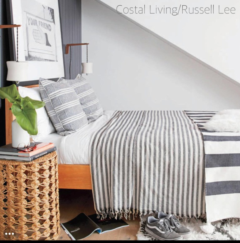 coastal-living-russel lee-gray & white-bedroom-stripped duvet