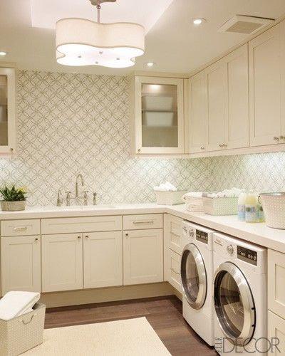 elledecor-laundry room- white and green wallpaper