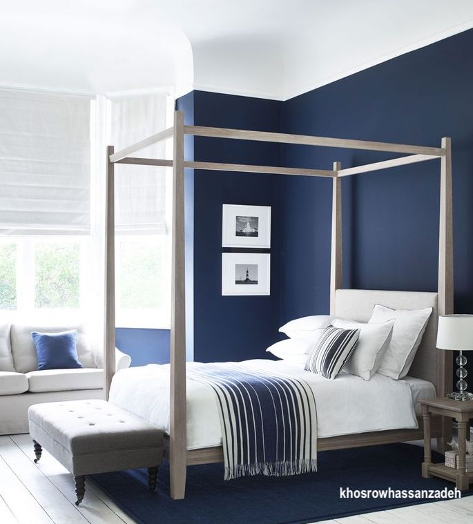 khosrowhassanzadeh-blue-bedroom-canopy-bed-white-linens