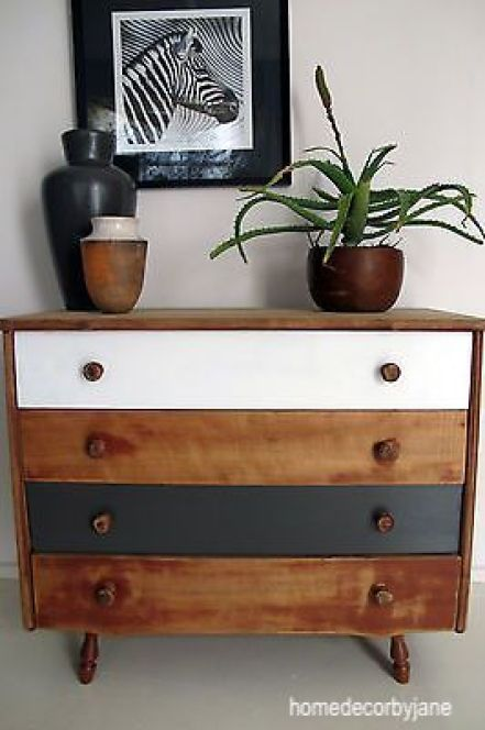 homedecorbyjane stained 4 drawer dresser with black and white painted drawers