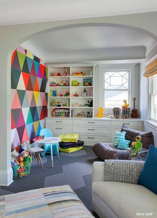 Decor pad Kids Playroom-colorful painted walls-playrooms-toy storage