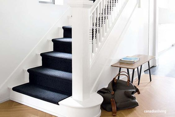 canadian-living-white-stair-case-black-stair-runner