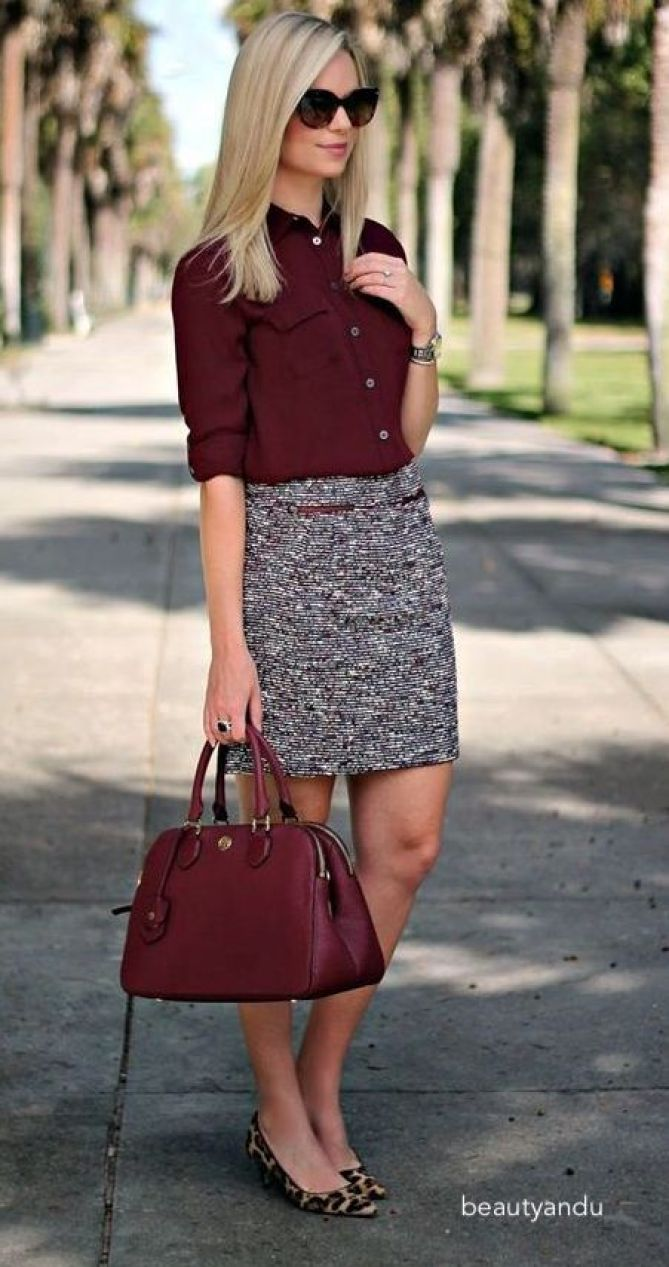 beautyandu-wine-blouse-patterned-skirt-leopard-flats
