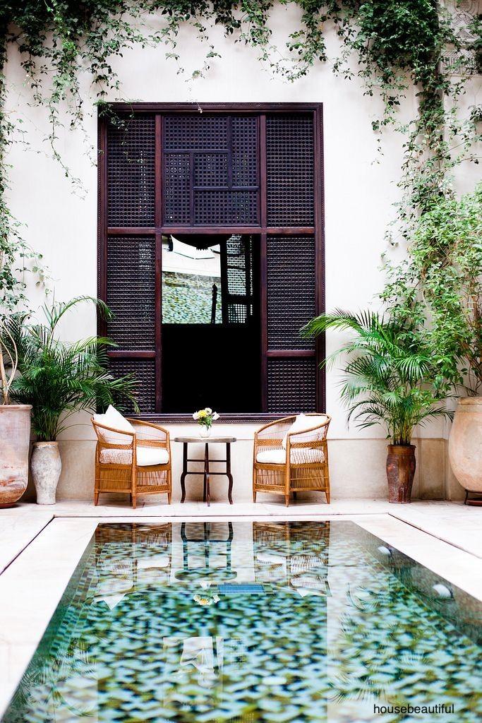 house beautiful-plunge-pool-dark-shutters