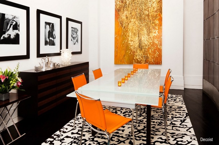 deceits-orange-dining-chairs-black and white art