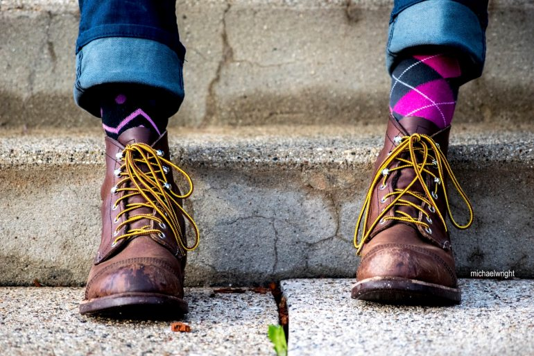 michael wright-boots-argyle-socks-magenta