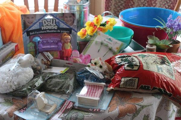Supplies needed to build a fairy garden