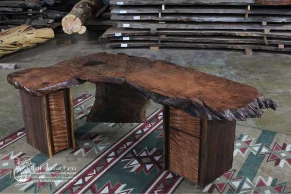"""L"" shaped rustic executive desk"