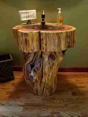 Cedar log vanity