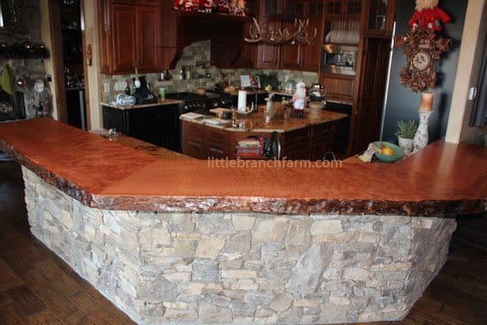 Kitchen decor with curly redwood countertop