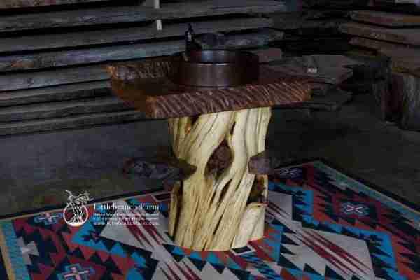 Juniper log rustic vanity