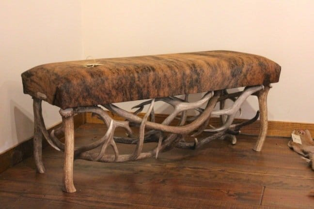 Rustic Cowhide and Antler Bench