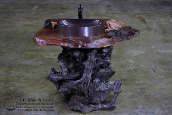 Rustic redwood bathroom vanity