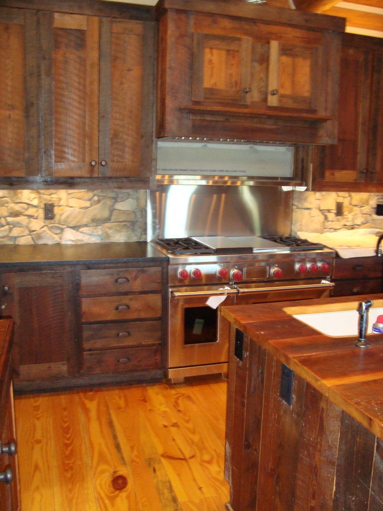 distressed rustic barnwood cabinets
