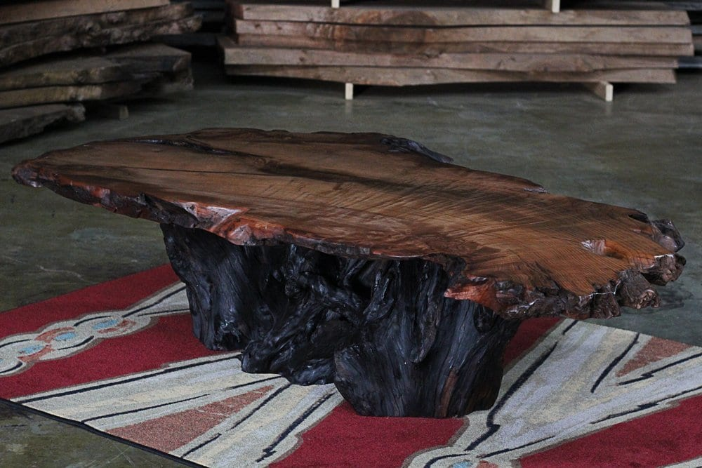 live edge table on area rug