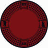 Round red rug with pine trees and bears.