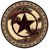 Round rug with Texas star and cowhide.