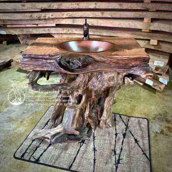 Tree stump bathroom vanity on barbwire area rug