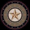 Gold Texas star round area rug.