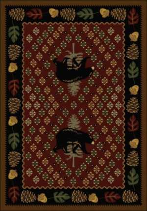 Pine cone cabin rug in red.