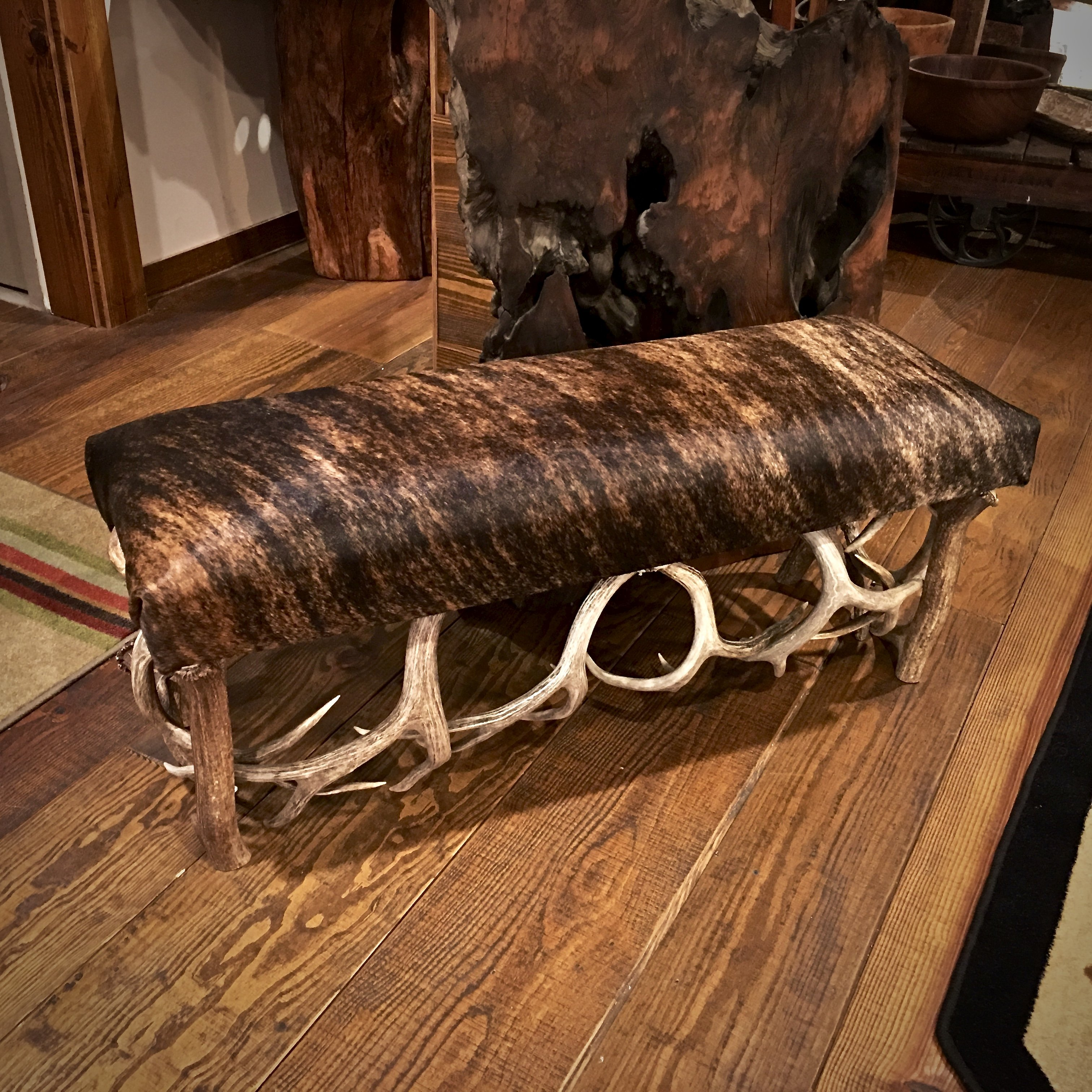 This Is A Real Cowhide And Antler Bench