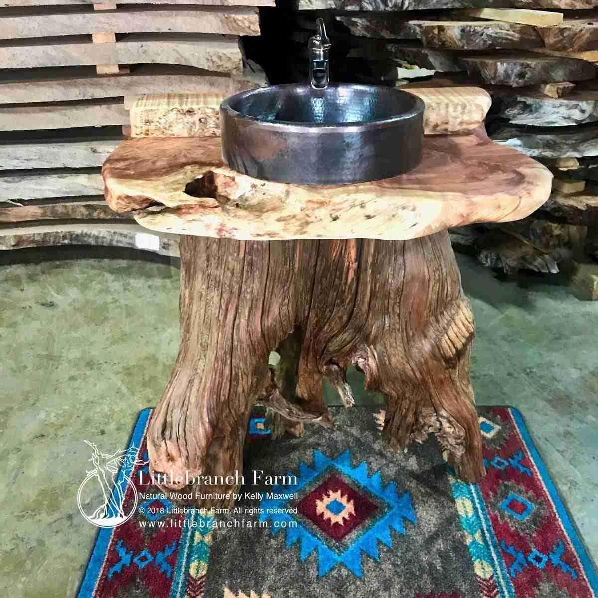 Custom Rustic Bathroom Vanity Made From Tree Stump