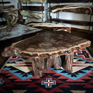 wood slab coffee table on southwestern rug